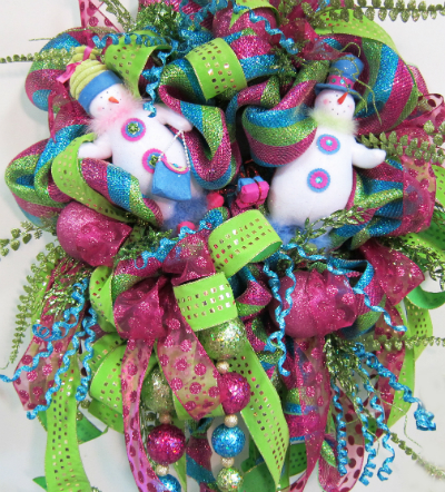 "Deco Mesh"" (Snowman Christmas/Winter Wreath)"