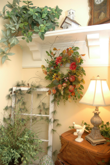 displaying your wreaths inside your home