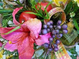 orchids and berries in door wreath