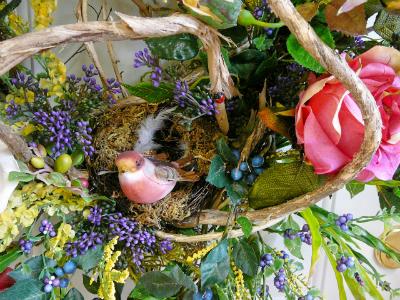 Door Wreath With Honeysuckle, Bird & Nest, and Berries