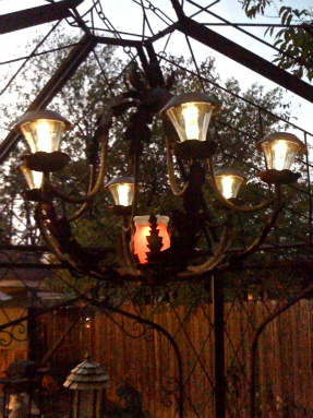 Chandelier at night with solar lighting