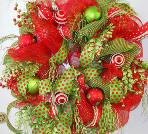 Christmas Wreath out of Deco Mesh for the Door. LadybugWreaths.com