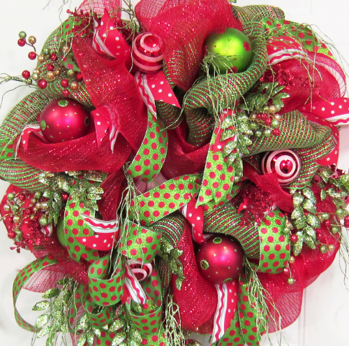 Deco Mesh Christmas Door Wreath