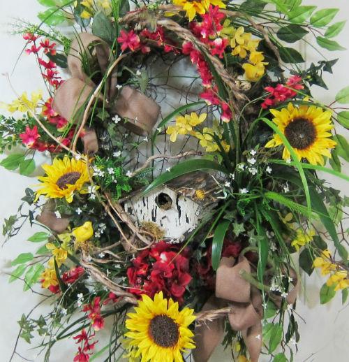 U201cSunflower Meadow Door Wreathu201d